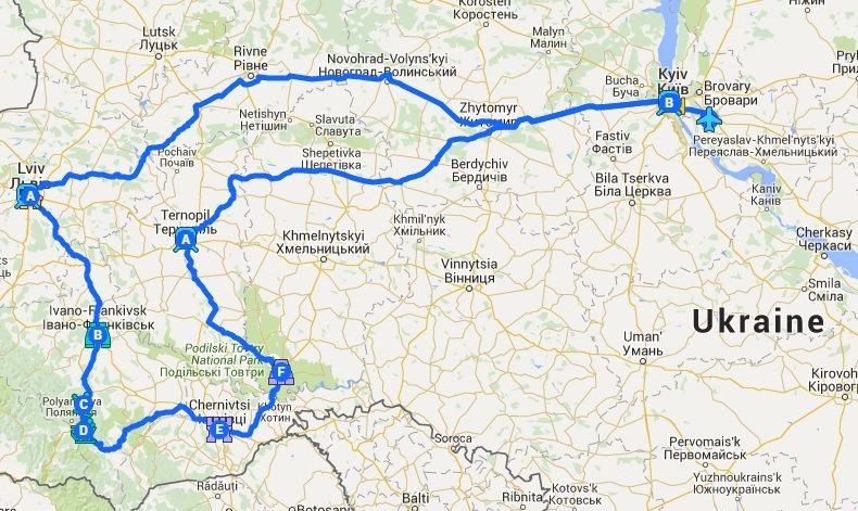 1536 Ukraina kaart